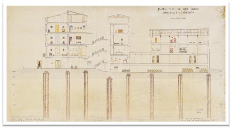 Plan de l'immeuble lorsqu'il a été construit pour le courtier irlandais, aujourd'hui une partie est le musée du vin et du négoce